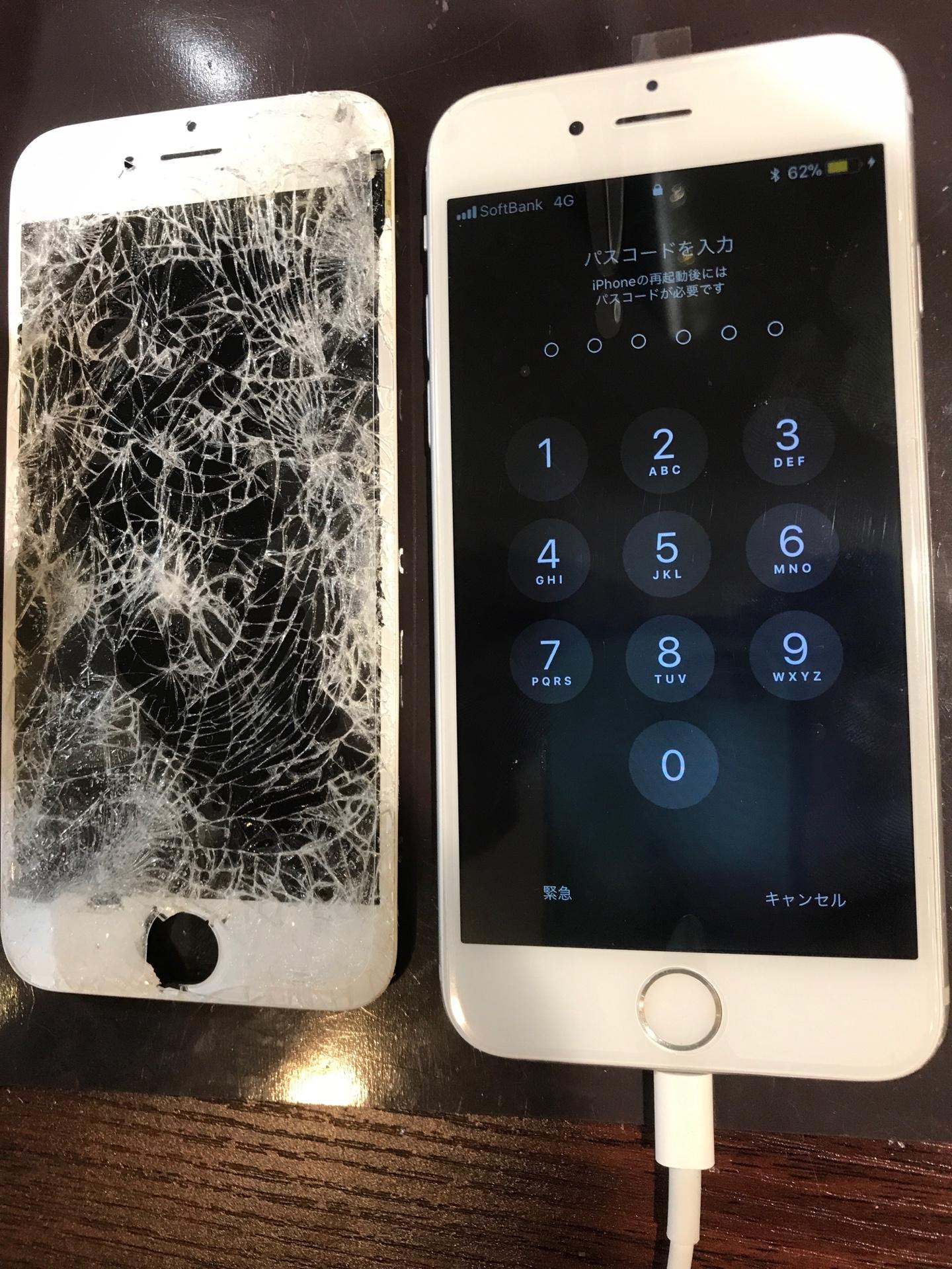 iphone6 画面交換<伊丹市よりお越しのお客様>バッキバキの画面も、スマートクールなら40分ほどで修理可能です!!