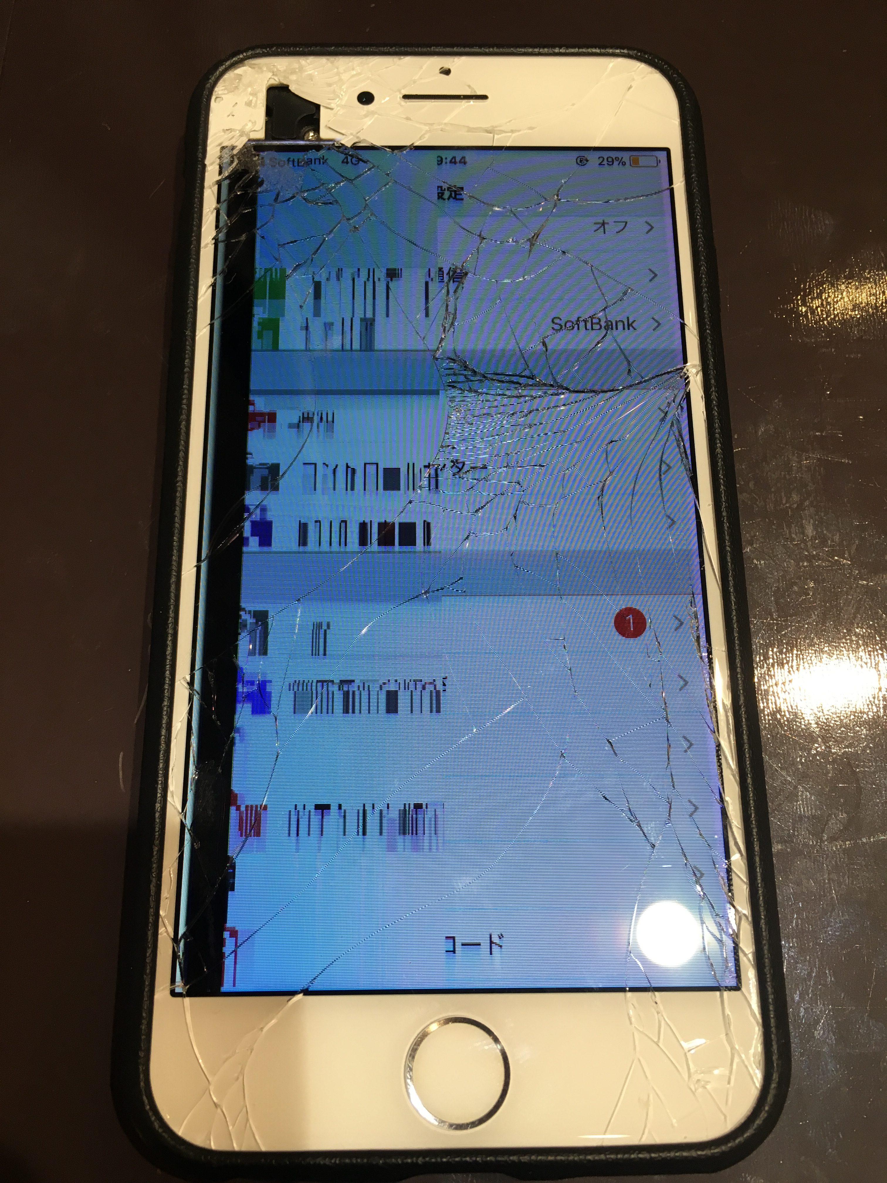 画面バキバキで勝手に動く?!即日修理でデータそのまま! 尼崎市のiPhone・iPad修理屋 スマートクールつかしん店 【iphone6S】画面交換修理 《伊丹市立花からのご来店》