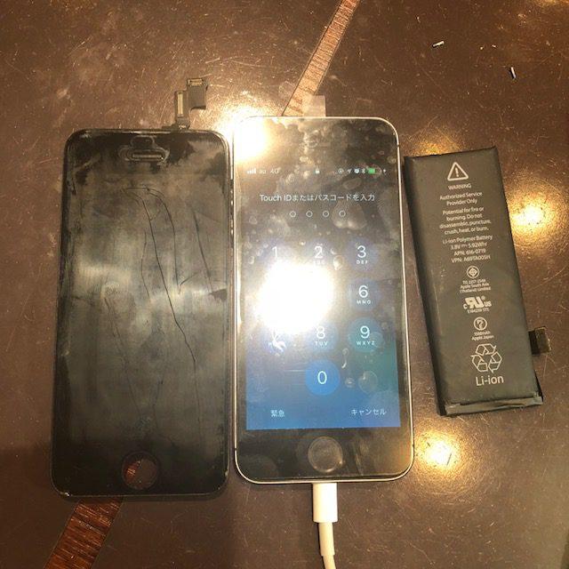 iphone5S画面&バッテリー交換 一週間ぐらい前に、急に画面が浮いてきて…<尼崎市よりお越しのお客様>バッテリー膨張は放置すると危険です!
