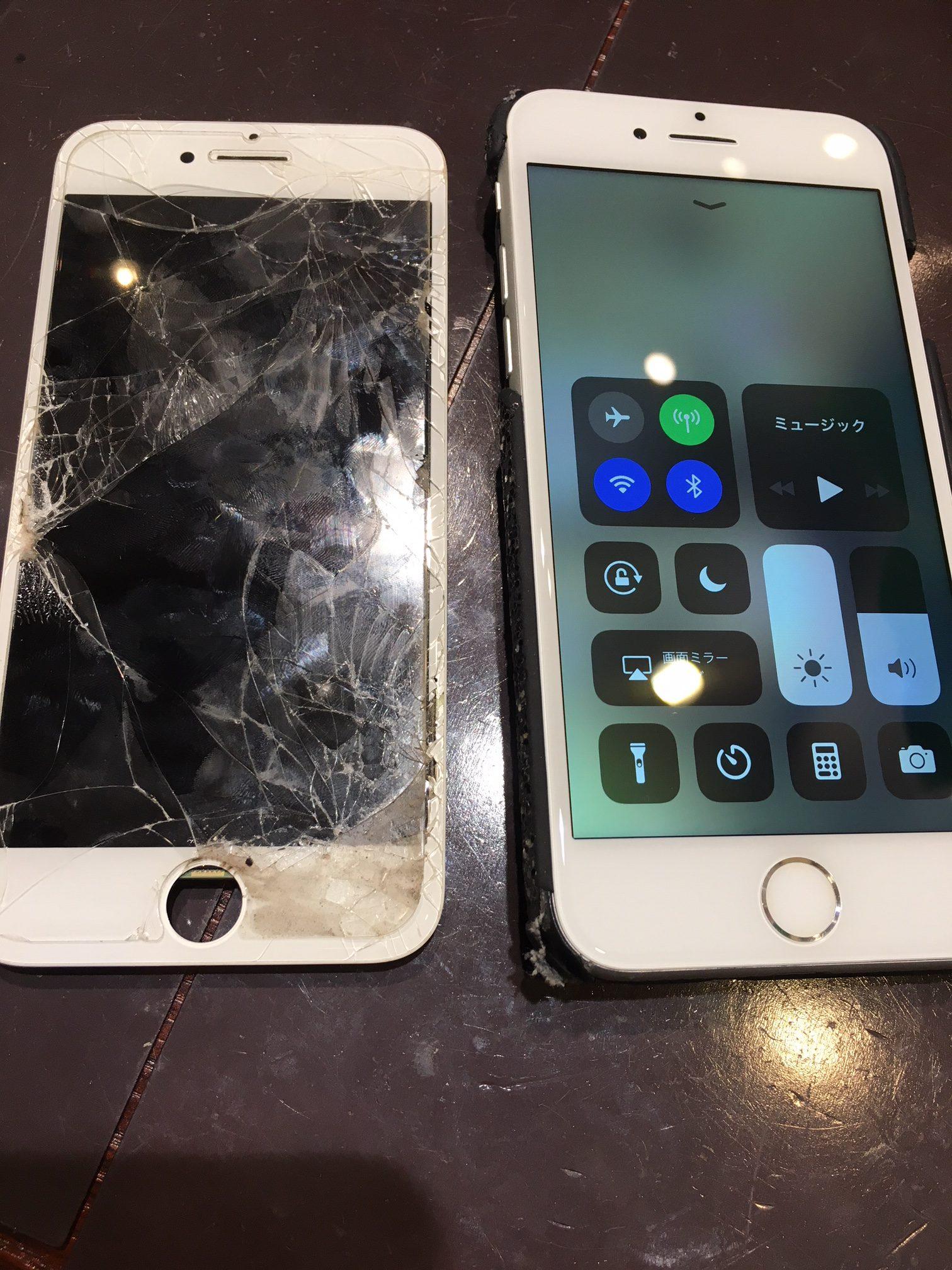 『伊丹市からお越しのお客様』iPhone6 画面バッキバキ。しかも謎の汚れ…..? 画面修理でご来店下さいました(*'▽') スマートクールつかしん店