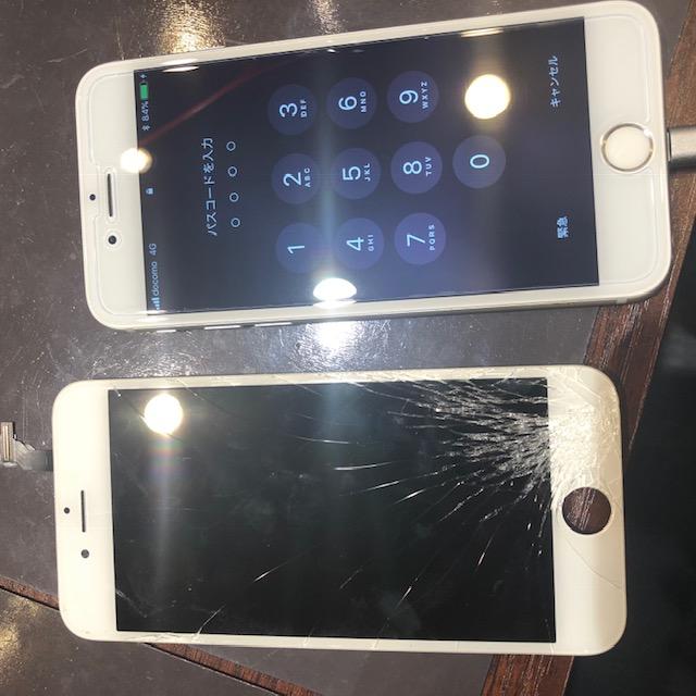 iphone6画面交換|角から落としてピシっ!!でも大丈夫!スマートクールならデータそのまま即日修理!!<伊丹市よりお越しのお客様>