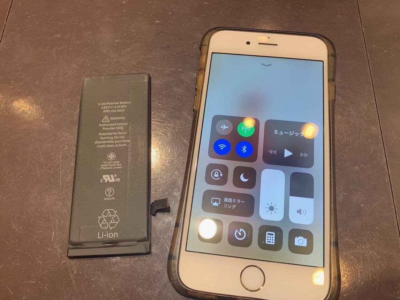 データやアプリなどすべてそのまま電池交換!iPhone6sバッテリー交換修理♫[尼崎市よりお越しのお客様]駅近・割引アリのアイフォーン修理専門店スマークール!