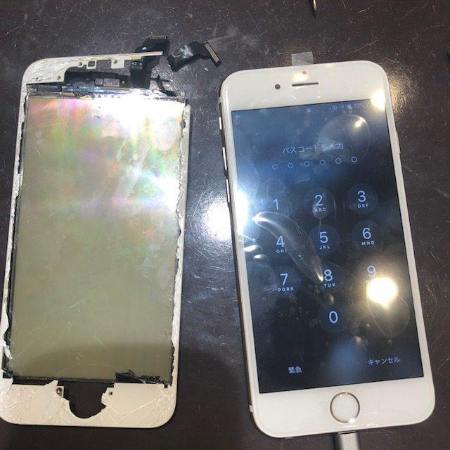 iphone6画面交換|ずたずたに壊れてしまった端末も、画面交換で復活するケースあります!!<尼崎市よりお越しのお客さま>