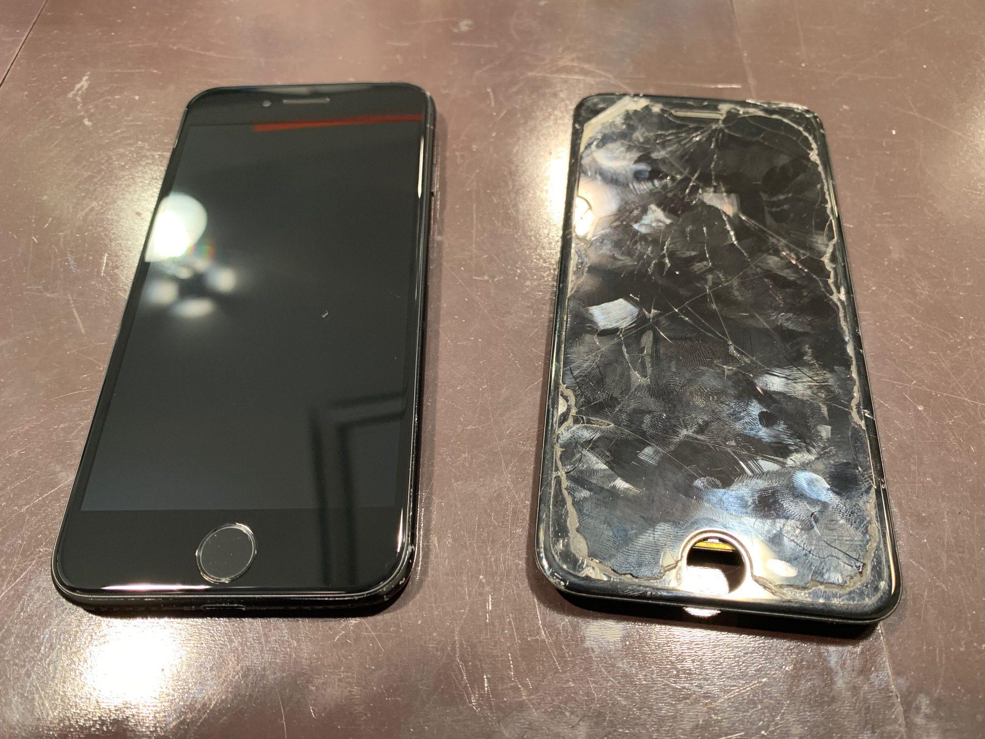 アイフォン7画面修理最短30分~!中のデータそのまま・平日最大5時間無料の大型駐車場アリ☆彡ガラスが割れたままでは下取り価格がガクンと落ちます![川西市よりお越しのお客様]