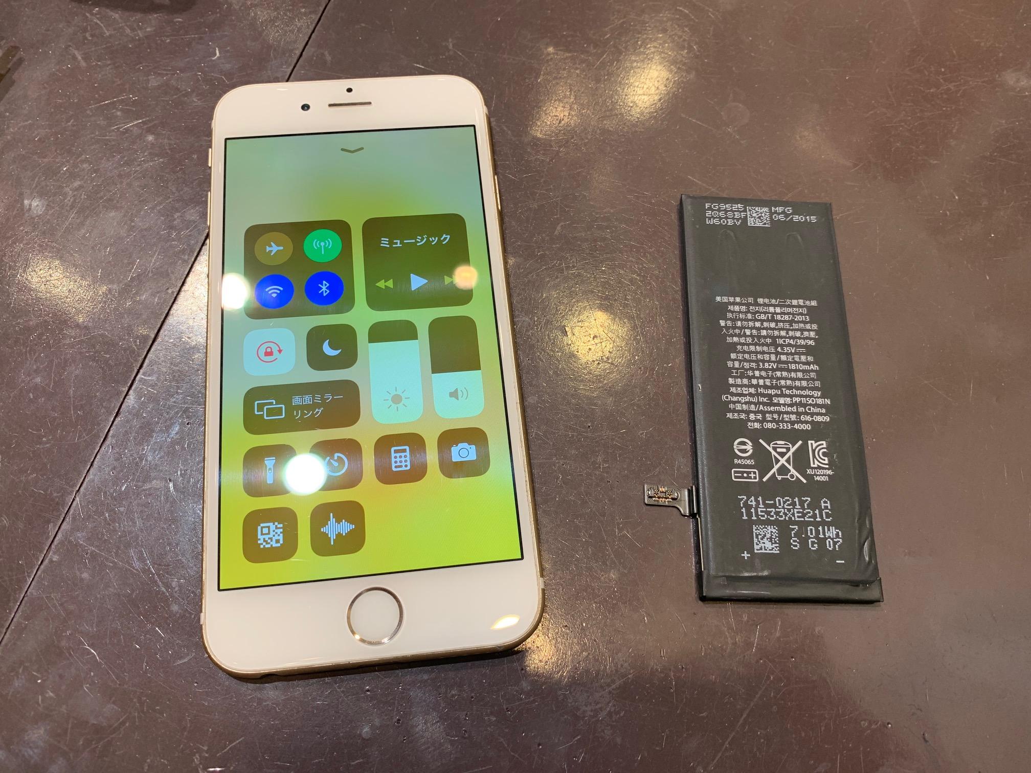 iPhoneのバッテリー交換も当店で可能☆電池の減りが早い、電源がすぐ落ちる、消耗が激しい等…気になりだしたら早めに交換★iphone6s電池交換修理[大阪市よりお越しのお客様]スマートクール尼崎店