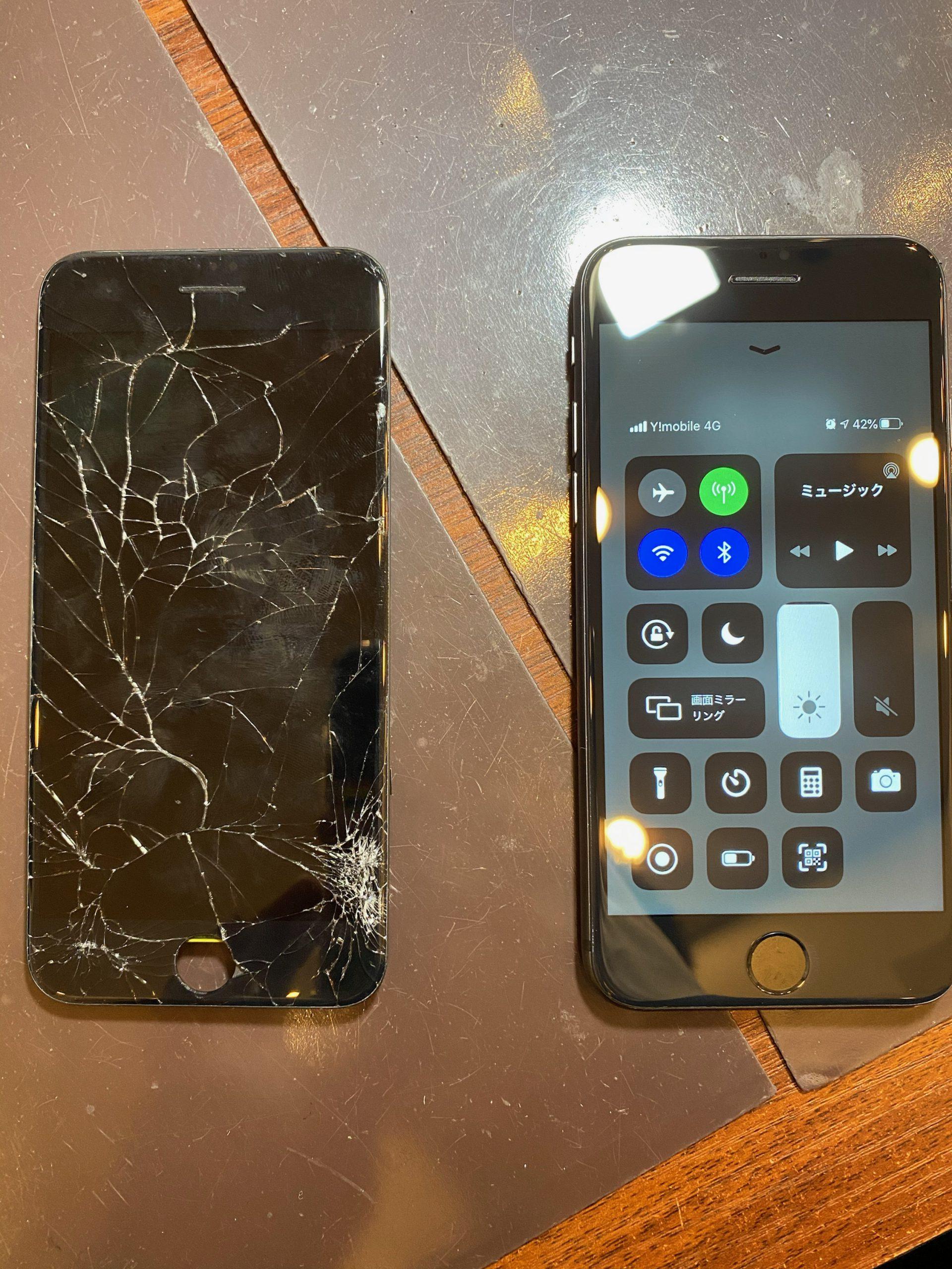 iPhoneSE2 画面割れで画面交換で伊丹市からご来店 t