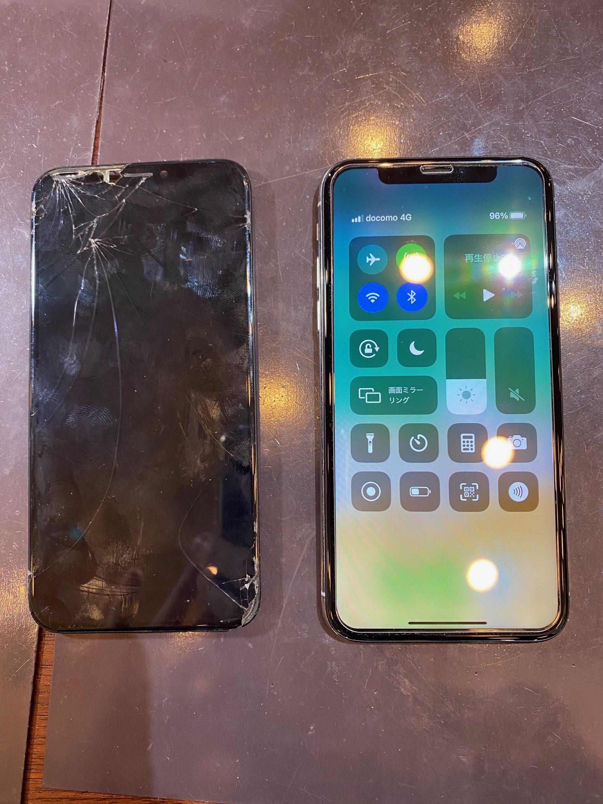 iPhoneXS 画面修理 データそのまま即日最短30分修理 <池田市からお越しのお客様>ク