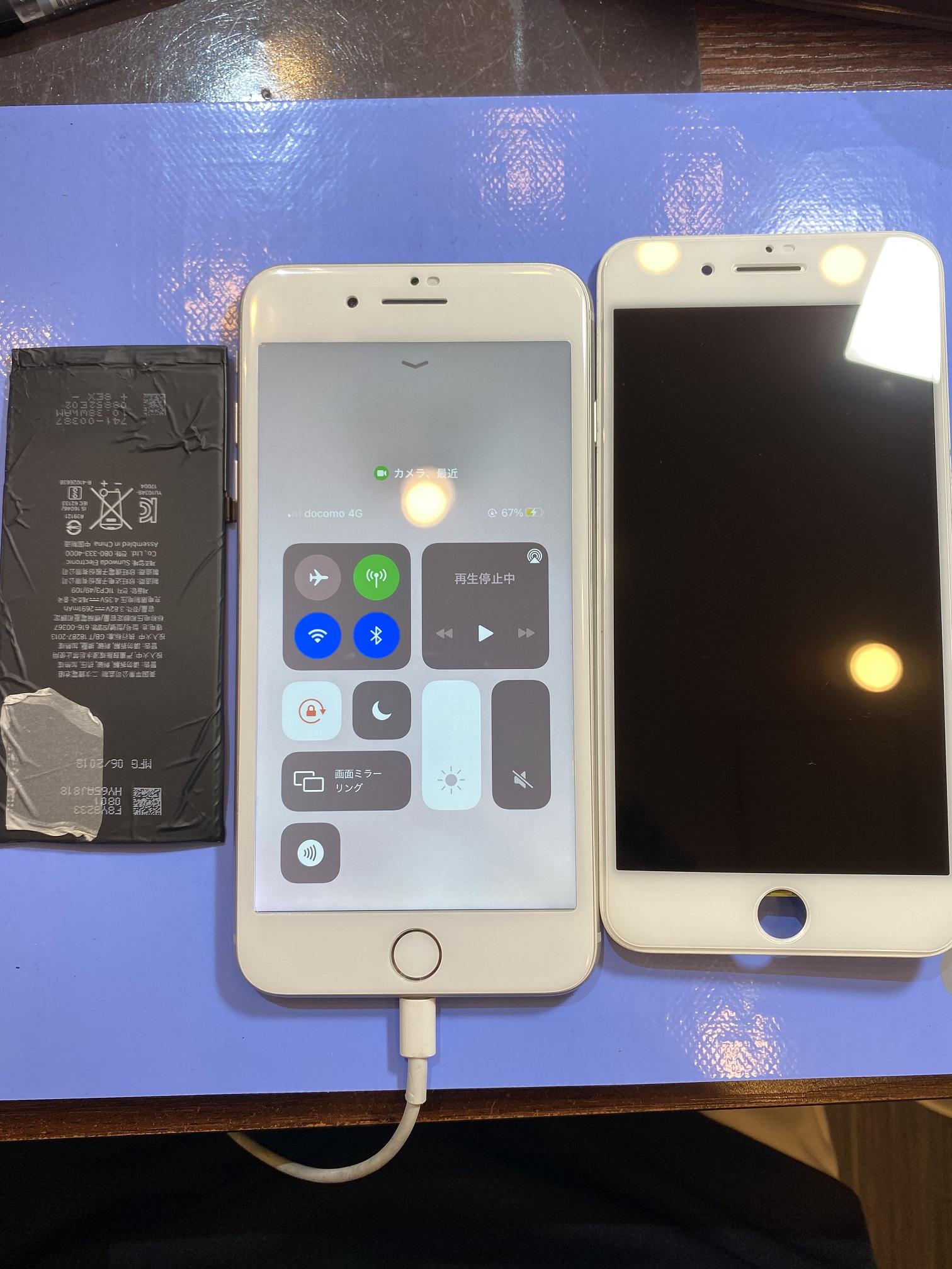 iPhone8plus 画面・バッテリ交換 尼崎からお越しのお客様 イ